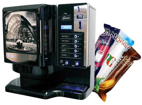picture of coffee machine with drinks sachets