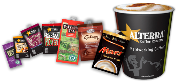 picture of drinks sachets and coffee cup