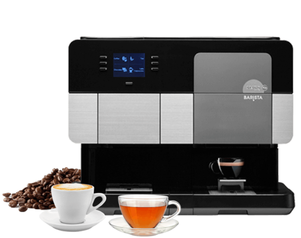 Picture of Barista coffee machine, coffee cup, tea cup and coffee beans
