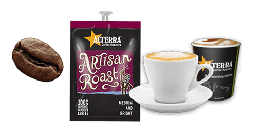 Picture of coffee bean, alterra coffee bag and coffee cups