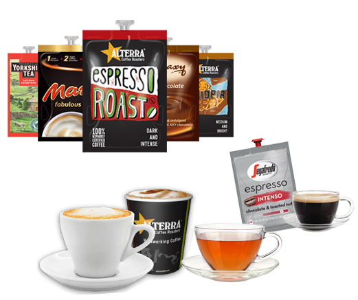 composite image of cups and drinks sachets