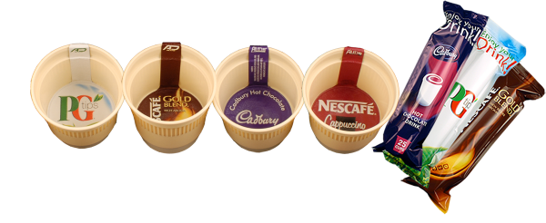 picture of four coffee cups and drinks sachets
