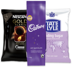 Picture of coffee, sugar and hot chocolate bags