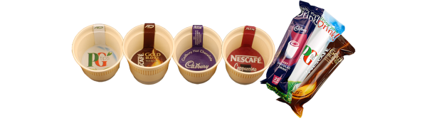 picture of plastic coffee cups and drinks sachets