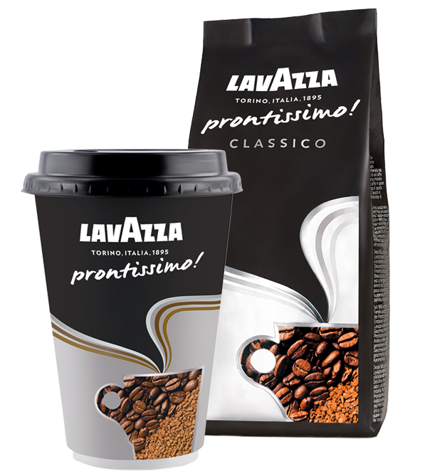 Picture of lavazza coffee cup and coffee packet
