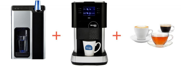 Picture of water cooler, Flavia 500 and coffee cups